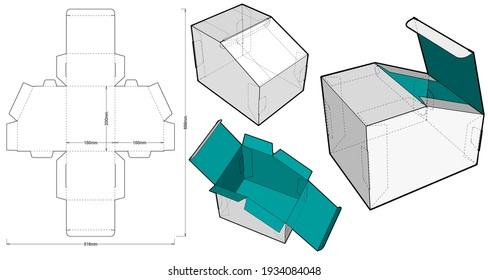 Folding Box and Die-cut Pattern. Ease of assembly, no need for glue. EPS file is fully scalable. Prepared for real cardboard production.