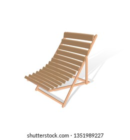 Folding brown wooden deckchair isolated on white background. Illustration beach chair. Travel background with deckchair. Vector illustration