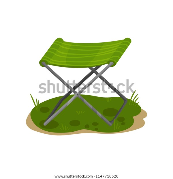 Folding camp chair, fishing green chair vector Illustration on a white background