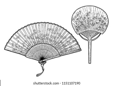 Folding fan illustration, drawing, engraving, ink, line art, vector