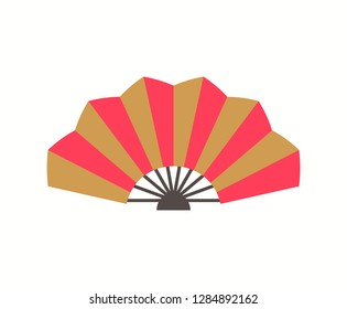 Folding fan with stripes red and gold in flat style isolated on white. Chinese culture accessory, colorful traditional eastern ornament vector, souvenir