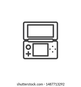 Folding game console line icon. linear style sign for mobile concept and web design. Handheld Game Console outline vector icon. Symbol, logo illustration. Vector graphics
