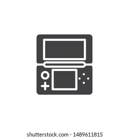 Folding game console vector icon. filled flat sign for mobile concept and web design. Handheld Game Console glyph icon. Symbol, logo illustration. Vector graphics