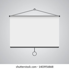 Folding hanging fabric screen for image projector on the vertical surface. Drawing for business presentation's visual content like slides, infographics and video. Frame for advertising info, posters.