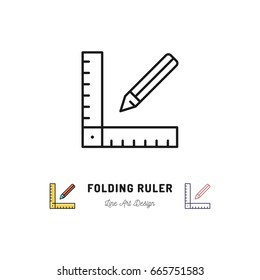 Folding ruler icon. Ruler and pencil thin line art icons. Repair home Building tools, Vector flat illustration