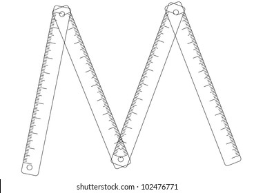 Folding ruler on white background - vector contour illustration