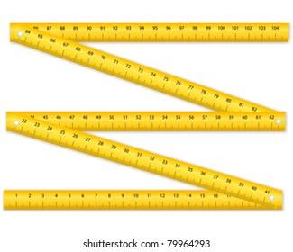 Folding ruler on white background. Vector illustration.