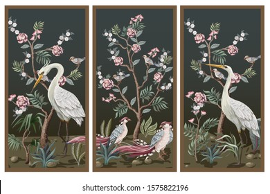 Folding screen in chinoiserie style with storks and peonies. Vector.