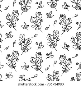 Foliage branches floral seamless simple vector pattern. Repeat flower bloom texture monochrome backround for print textile, wallpaper and wrap paper design.