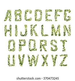 Foliage decorative green font. Set of ABC letters watercolor leaves and bines. Floral ornate alphabet environmental concept. Capital letters easy to combine. Vector is EPS8.