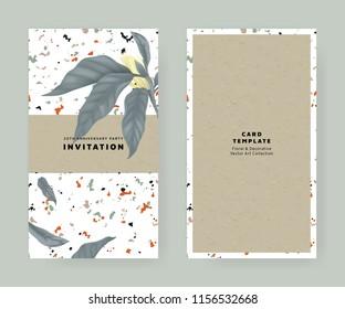 Foliage invitation card template design, white Champaka on marble texture