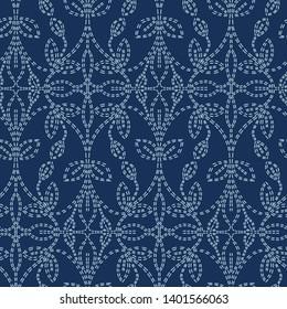 Foliage leaf damask motif sashiko style. Japanese needlework seamless vector pattern. Hand stitch indigo blue line textile print. Classic japan decor, asian fusion embroidery. Kimono quilt template.
