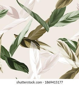 Foliage seamless pattern, heliconia Ctenanthe oppenheimiana plant in green and brown tones on bright brown