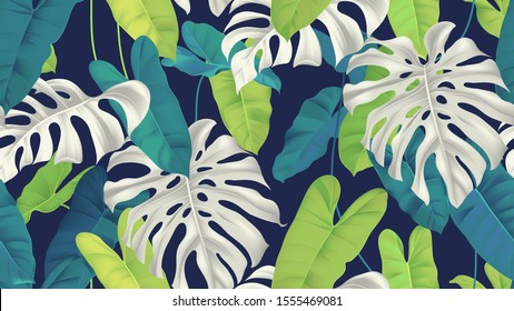 Foliage seamless pattern, white and green split-leaf Philodendron and Philodendron burle marx plant on dark blue