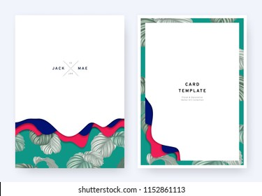 foliage wedding invitation card template design paper cut waves and tropical plants pattern on green
