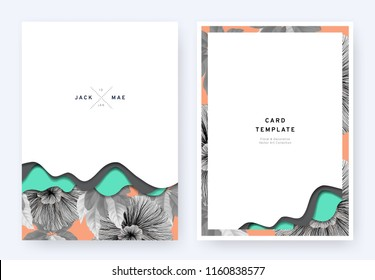 Foliage wedding invitation card template design, paper cut waves and black and white flowers with leaves pattern on orange, pastel vintage theme
