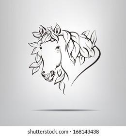 Foliate silhouette of the head horse