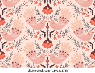 Folk art bird couple symmetrical vector seamless pattern Love fair wedding birds kiss floral rural ornamental background for romantic design