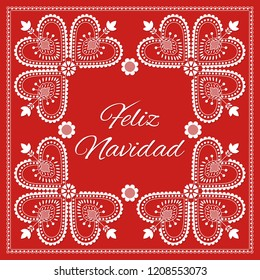 Folk art Christmas card vector template. Feliz Navidad - Merry Christmas in Spanish. Holiday red background with ornaments. Season design illustration for banner, greeting, party invitation, poster.