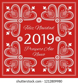 Folk art Christmas card vector template. Feliz Navidad & Prospero Ano Nuevo 2019 - Merry Christmas and Happy New Year in Spanish. Holiday red background with ornaments. Season design illustration.