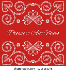 Folk art Christmas card vector template. Prospero Ano Nuevo - Happy New Year in Spanish. Holiday red background with season ornaments design.