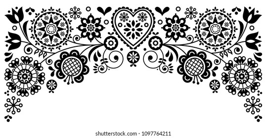 Folk art frame border retro vector greeting card design, floral black and white ornament inspired by Scandinavian art.  Retro monochrome floral background inspired by Swedish and Norwegian art