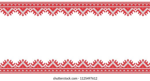 Folk art knitted embroidered good by cross-stitch line pattern