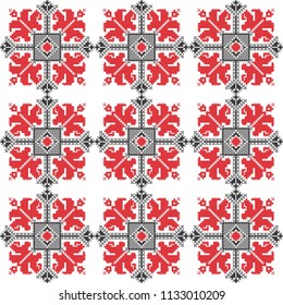 Folk art knitted embroidered good by cross-stitch pattern. Floral pattern for textile, covers, wallpapers.