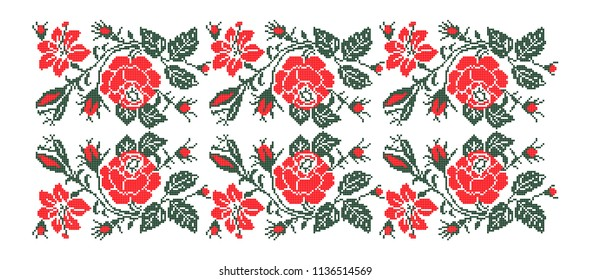 Folk art knitted embroidered good by cross-stitch pattern. Floral pattern with red roses for textile, covers, wallpapers.