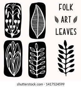 Folk art leaf graphic elements for design set. Hand drawn linocut style block print motif. Black outline folkloric clip art collection. Traditional bohemian illustration. Stylized nature leaves.