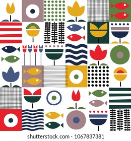 Folk art pattern in Scandinavian, Nordic style