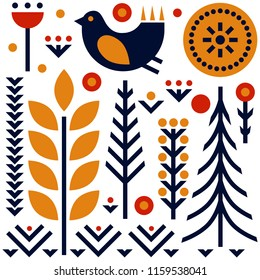 Folk art pattern in Scandinavian, Nordic style.