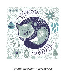 Folk art vector animal illustration in scandinavian style. Tribal nordic square card with detailed cat and floral decoration.