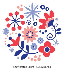 Folk art vector floral greeting card design, round pattern with flowers Scandinavian, hand drawn style in red and navy blue. Retro repetitive decoration in circle, wedding or birthday party invitation