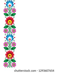 Folk art vector greeting card or wedding invitation - Polish traditional pattern with flowers - Wycinanki Lowickie. Retro floral decoration, Slavic colorful design on white, repetitive background