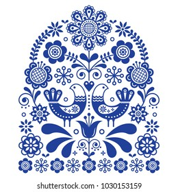 Folk art vector ornament with birds and flowers, Scandinavian navy blue floral pattern.  Retro floral design inspired by Swedish and Norwegian traditional embroidery