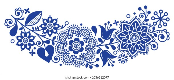 Folk art vector round ornamental frame, floral Scandinavian design in circle, ethnic composition.  Retro background with flowers inspired by Swedish and Norwegian traditional embroidery