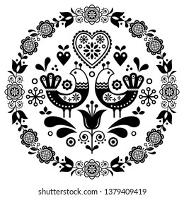 Folk art vector round ornamental frame with birds, hearts, and flowers, Scandinavian design in circle, floral composition. Retro background with flowers inspired by Swedish and Norwegian art