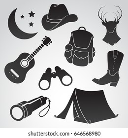 Folk, camping, country icon set isolated on white background. Vector art.