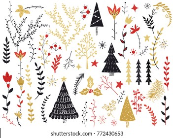 Folk collection. Flowers,branches,berries,Christmas tree,trees,star. Scandinavian folk art pattern. Floral design