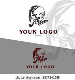 folk cossack illustration logo