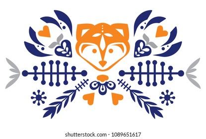 folk cute folk pattern with fox and flowers. Patterned heart. Mascot. Logo.