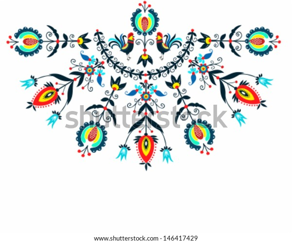 Folk Decorating Roosters Stock Vector (Royalty Free) 146417429