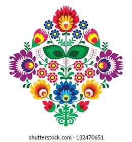 Folk embroidery with flowers - traditional polish pattern - wycinanka, Wzory Lowickie