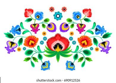 Folk embroidery ornament with flowers. Traditional polish pattern decoration - wycinanka, Wzory Lowickie