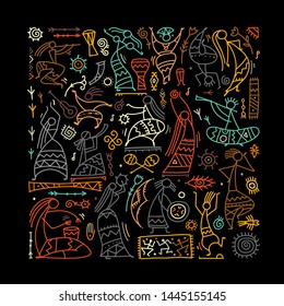 Folk ethnic dance background for your design