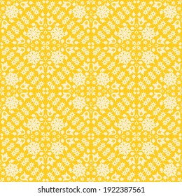 Folk floral elements seamless pattern for wallpaper, packaging and textile on yellow background. Simple flat vector motif abstract endless fabric useful for tile design.