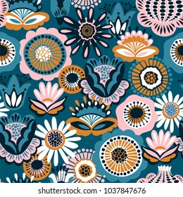Folk floral seamless pattern. Modern abstract design for,paper, cover, fabric and other users