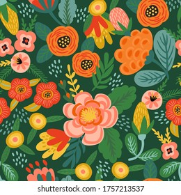 Folk floral seamless pattern. Modern abstract design for paper, cover, fabric, pacing and other users