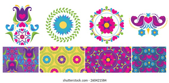 Folk flower inspired elements and seamless patterns.  Features four seamless patterns in bright colors with flowers, birds, and hearts.